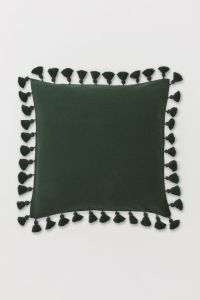 Dark green cushion with tassels, H&M Home