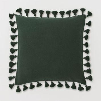 Dark green cushion with tassels, H&M Home