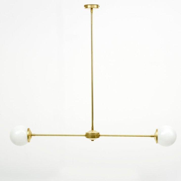 Spark and Bell, Tbar brass pendant light